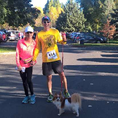 """My friends Jill and Ron Michaels at the 2016 Rolland Moore Park 4k Tortoise & Hare race. They gave me some homemade banana bread for """"winning"""" last week's Round the Rez bicycle race."""