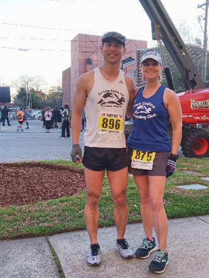 Felix Wong and Mel Sirois representing the Fort Collins Running Club at the 2020 Run Hard Columbia Marathon.