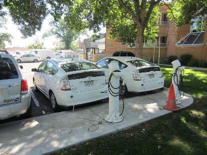 Meters away from the finish was the City of Fort Collins' electric charging stations for plug-in Toyota Priuses.