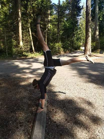 Erin doing a handstand on a wood curb at Salt Creek County Park.