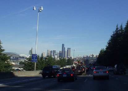 Traffic going into Seattle in the morning is pretty horrendous.  At least there's a nice skyline to look at.