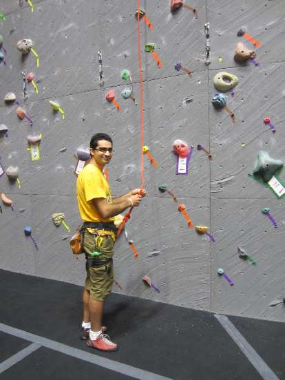Mehdi climbing inside Vertical World in the Queen Anne district.