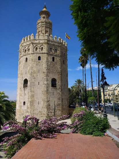 The Torre de Oro, a 13-century military watchtower in Seville, Spain.