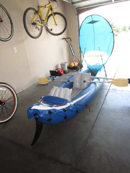 The Sevylor Fiji Kayak all set up with skeel and Bic sail.