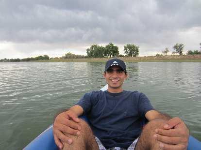 Mehdi in the kayak on Richards Lake.