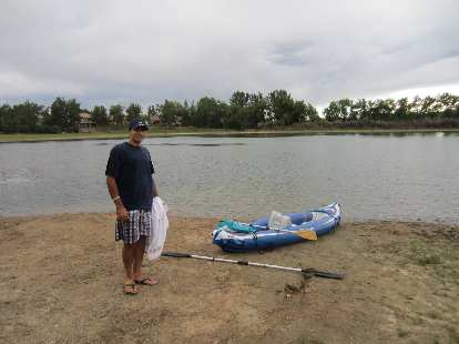Mehdi after paddling and sailing with me along the entire length of Richard Lake.