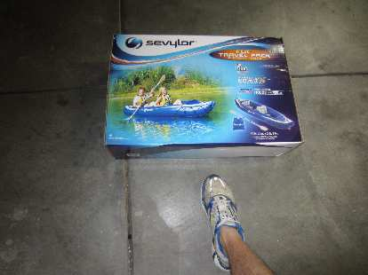 The Sevylor Fiji kayak was shipped to my house in this box.  Amazing how small it can get when deflated.