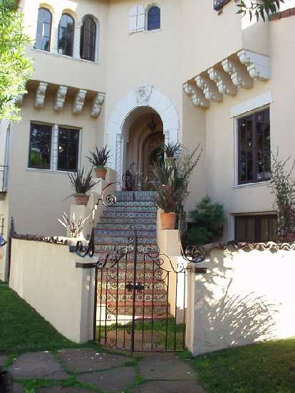 Exquisite tile work on the steps to this home.
