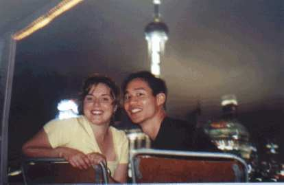 Karen and Felix Wong on the last night in China together, enjoying the view of the magnificent Bund from the deck of a cruise boat.