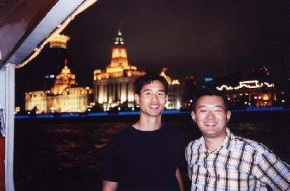 Felix Wong and Sam on the cruise boat.