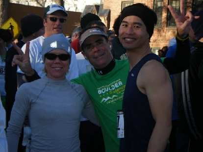 Tina, Eddie, and Felix Wong at the starting line.