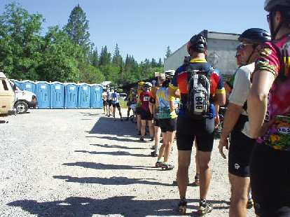 [Mile 43, 9:30 a.m.] Long lines to the porta-potties were common in this ride, especially at the first rest stops.