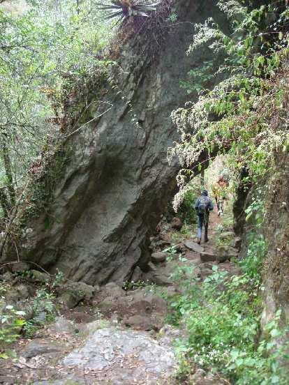 Walking under a cool rock.