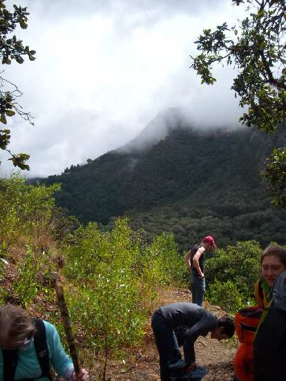 The top of the mountain in the distance is where we hiked from.