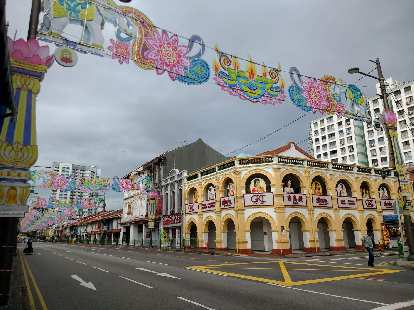 Deepavali decorations on Serangoon Rd., Little India, Singapore.