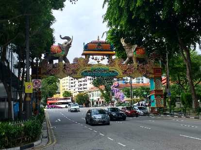 The colorful gate on Seragoon Rd. at the southwest end of Little India, Singapore.