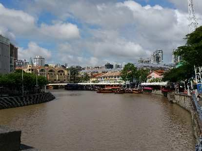 The Singapore River in Clarke Quay, Singapore.