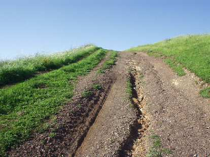 rutted dirt uphill trail with green grass on the sides