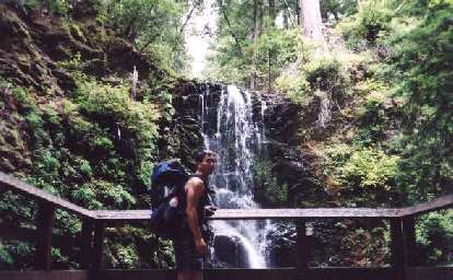 Mile 5: Felix Wong in front of Berry Creek Falls.