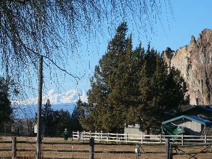 The Cascade Mountains (specifically, the Sisters) beyond Smith Rock.