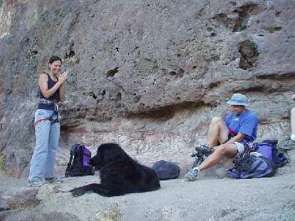Bethany, Tika the dog, and Hunza get all set to climb.
