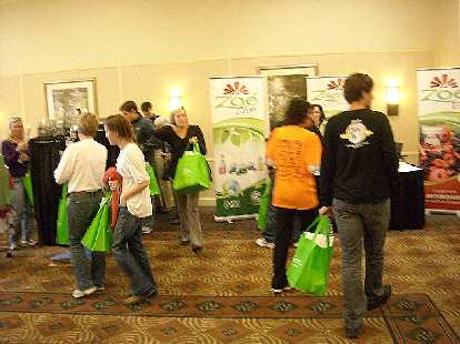 Green canvas shopping bags were given out at the marathon expo.