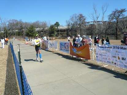 Dan finishing his race.