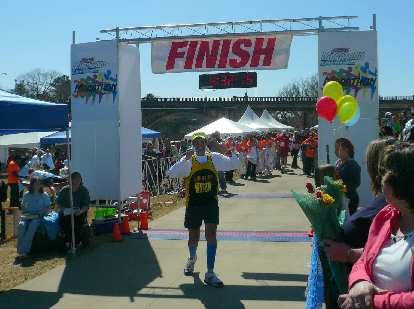 "When Dan turned around for his photo at the finish, the race announcer said, ""and he just lost a second or two there..."""