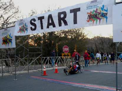 The sole wheelchair participant was given a five-minute headstart.