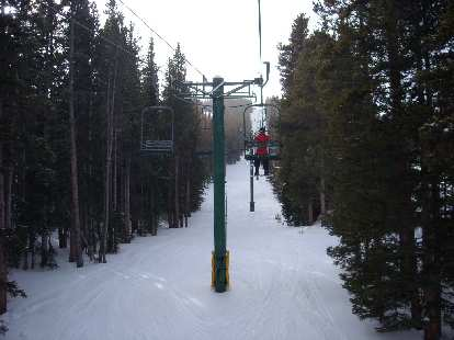 On one of the lifts at Snowy Range.