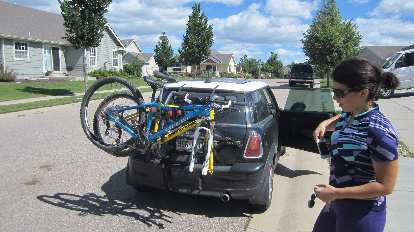It was a tight fit, but we managed to get both of our mountain bikes on Lauren's Mini Cooper to head 19 miles north to Soapstone Prairie.