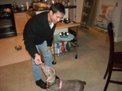 Felix Wong feeding Dan and Susan's dog Beatrice a Scooby snack.