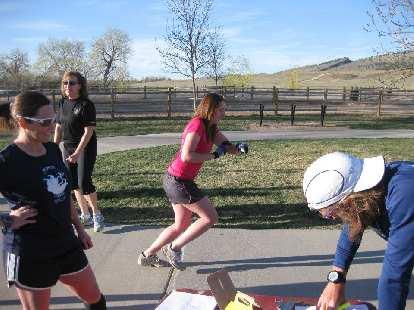 Kelly begins her race.