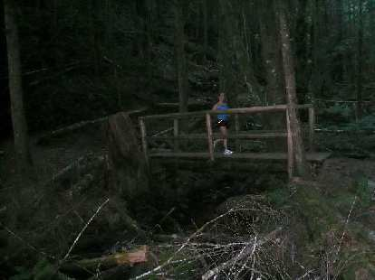 Lisa running over a bridge.