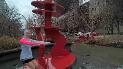 Maureen, chair pose, red statue, Citygarden, red Audi TT coupe