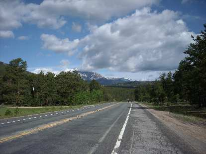 [Mile 87, 9:10 a.m.] Long's Peak coming into view on the Peak-to-Peak highway.