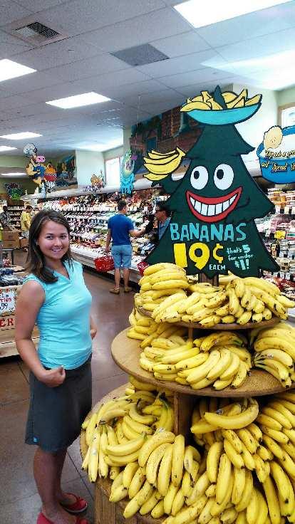 Katia going bananas at the Trader Joe's store near Stanford.