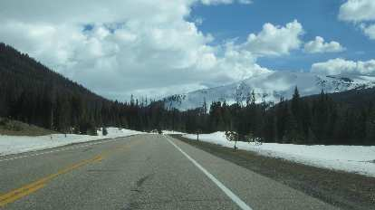 Snow on Highway 14, Poudre Canyon, near Cameron Pass