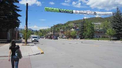 Eli, downtown Steamboat Springs, Bike Week banner