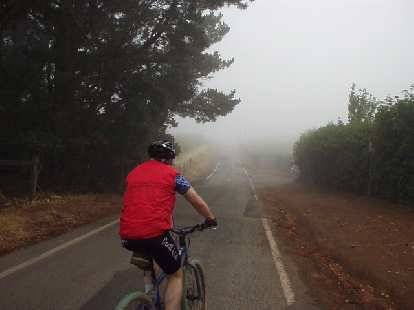 Near the top of Montebello Rd. was quite foggy.