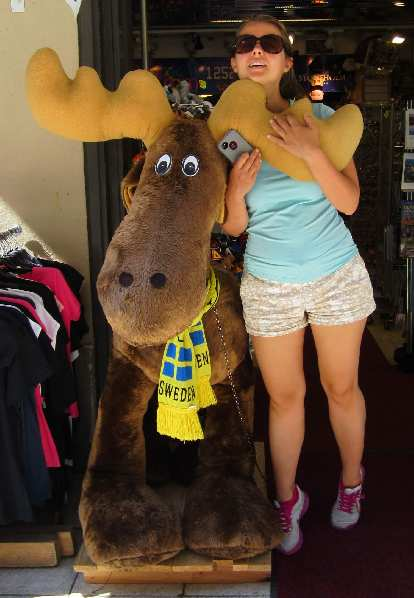 Katia with a moose.