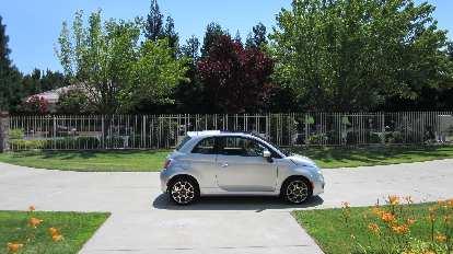 The little Fiat 500 rental car.
