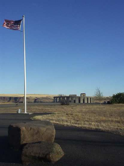 Stonehenge in Maryhill, WA was built as a World War I memorial by Sam Hill, a Quaker.  It is a replica of the original Stonehenge in the Salisbury plains of England, before its decay.