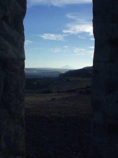 Mt. Hood framed by the pillars of Stonehenge (ok, bad photography).
