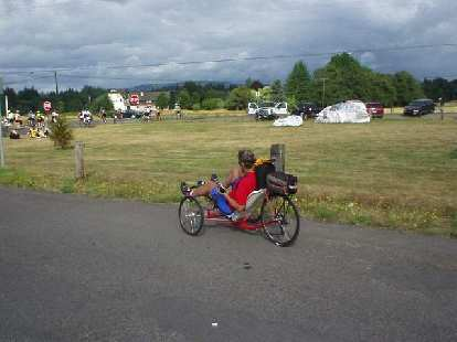 [Day 2, Mile 146, 9:07 a.m.] Another racing trike!  There were many!