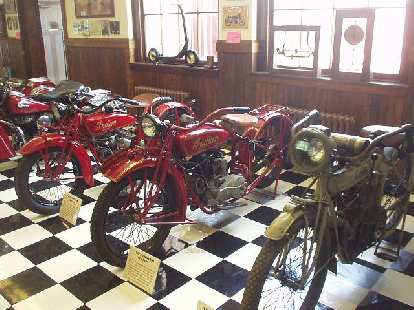 Several Indian motorcycles from the 1920s.