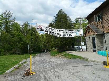 The start/finish line of the Sulphur Springs 100 in Ancaster, ON.