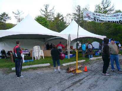 Moments before the race start: Aid Station #1 outside the Lions Club Outdoor Pool.
