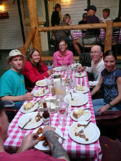 Cameron, Laurie, Theresa, Laurie's dad, and Charlotte at the pre-race dinner.