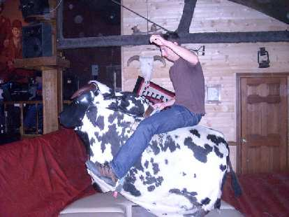 Jon riding the bull.